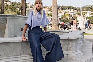 С чем носить женские синие брюки: 8 модных сочетаний и 43 примера образов