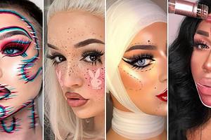 Идеи макияжа на Хэллоуин 2020: бокал игристого, Джокер, жертва пластики
