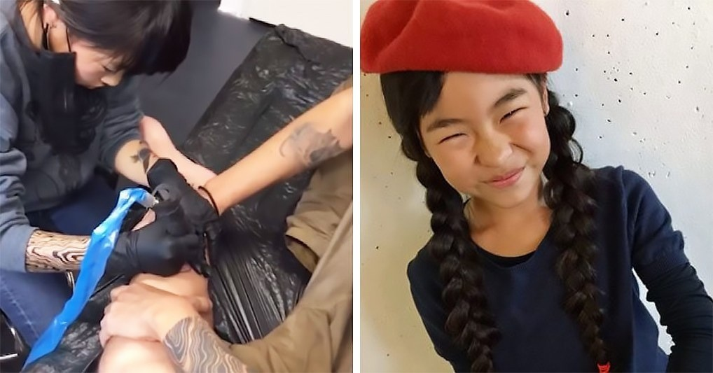 Девятилетняя школьница бесплатно бьет татуировки, и у нее уже немало клиентов