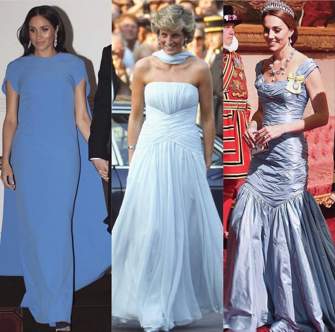 Меган Маркл, Кейт Миддлтон и принцесса Диана: чей наряд роскошней?