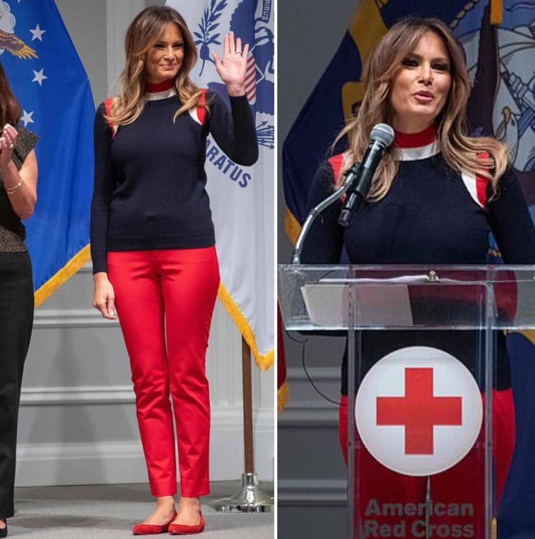 Для официальной встречи Мелания выбрала красные брюки, которые дополнила черным пуловером сяркими вставками ибалетками втон. Если бы мисс Трамп надела туфли накаблуке, то образ мог вы...