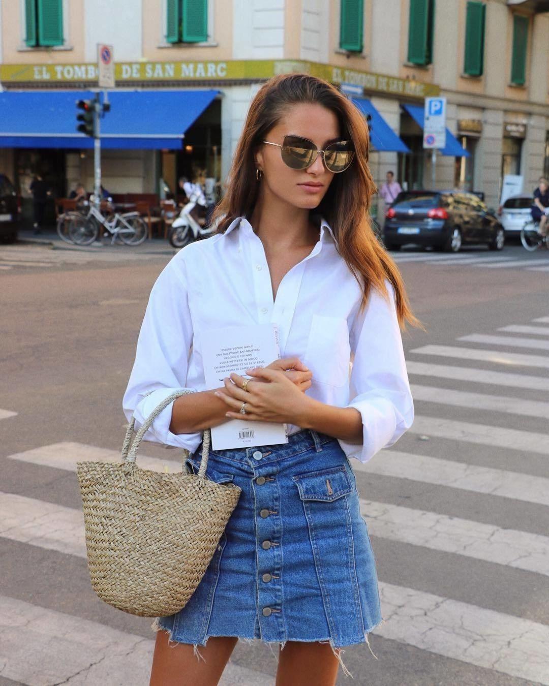 Белая рубашка с длинными рукавами SHEIN