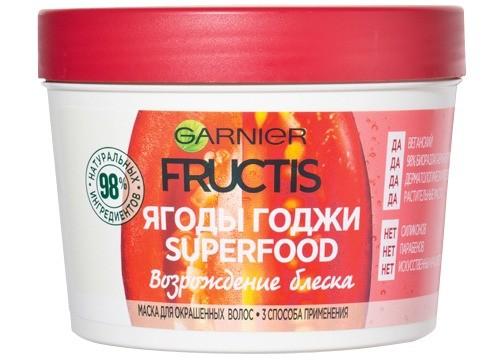 Веганская натуральная маска дляокрашенных волос Fructis Superfood «Ягоды годжи» Garnier, 365 руб.