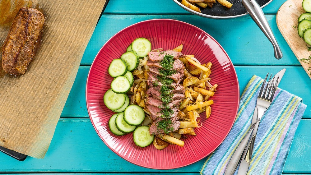 Полядвица с жареным картофелем