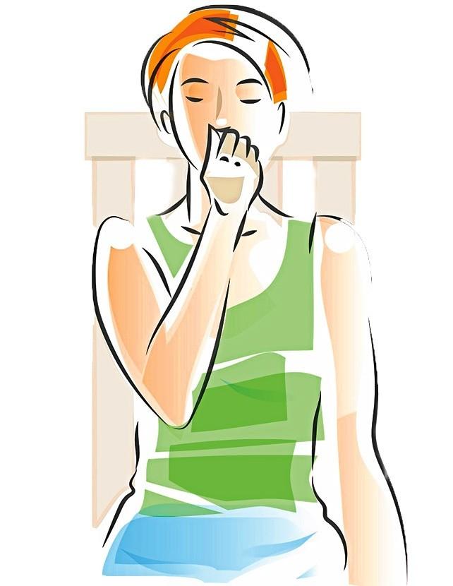 Зажми большим пальцем руки правую ноздрю, ссилой вдыхай черезлевую. Затем, зажав левую ноздрю средним или безымянным пальцем, медленно выдыхай черезправую. Следующий вдох ивыдох делай...