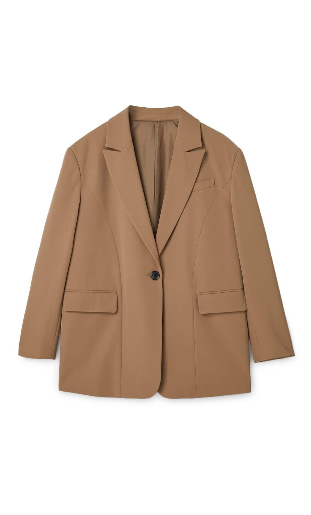 Оверсайз пиджак бежевого цвет&#...