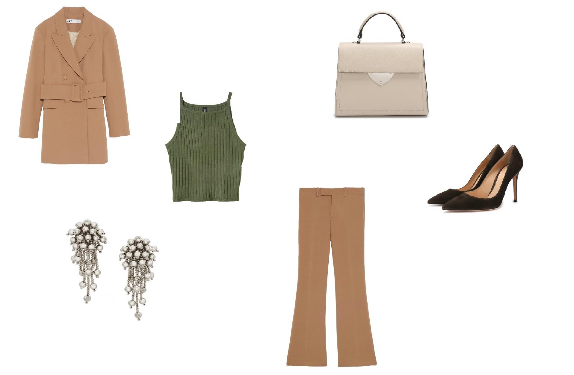 Жакет Zara, 11 999 руб.; брюки Zara, 3 999 руб.; сумка Coccin...