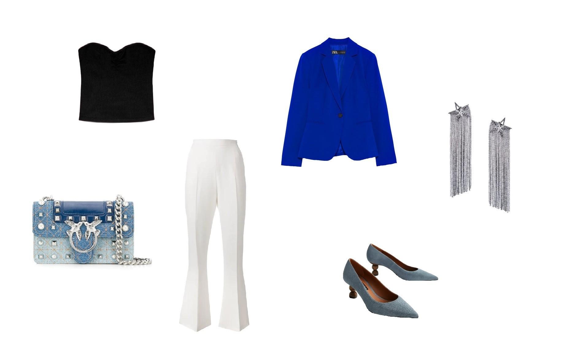 Блейзер Zara, 2 999 руб., брюки Pinko, 17 740 руб.; топ-k...