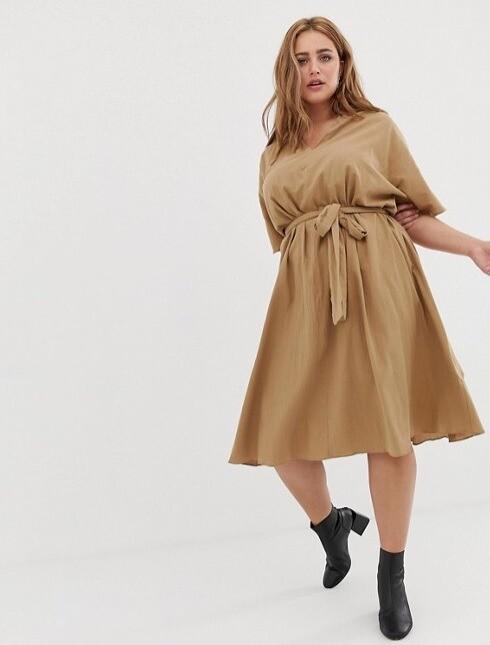 Хлопковое платье Glamorous цвета кэмел...