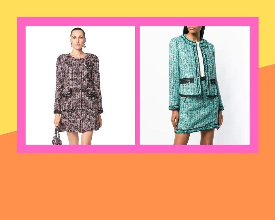 Костюм Chanel, 1 194 000 руб.; костюм Karl Lagerfeld, 49 900 руб.
