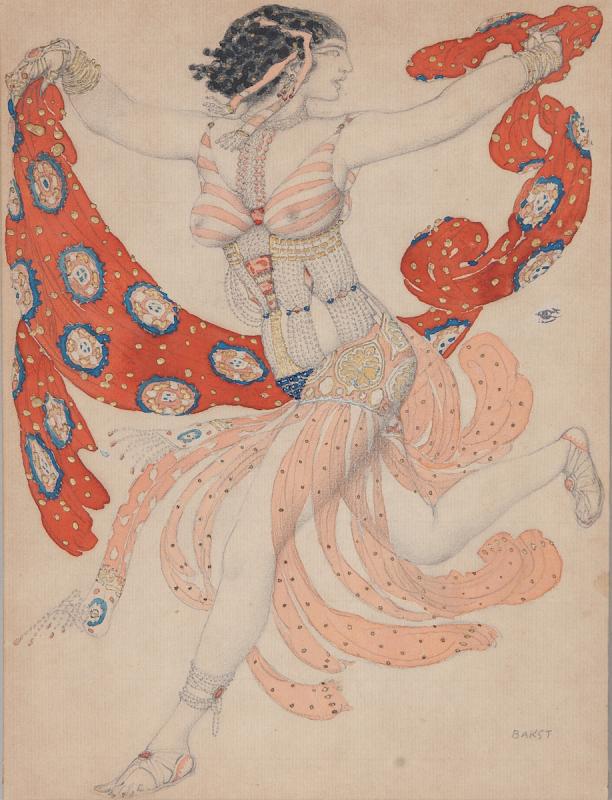 Фото: www.arts-museum.ru Бакст Л.С. Эскиз костюма Клеопатры для Иды Рубинштейн к балету «Клеопатра» («Египетские ночи»). 1909
