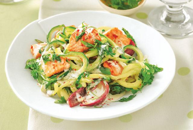 Спагетти из кабачков с лососем