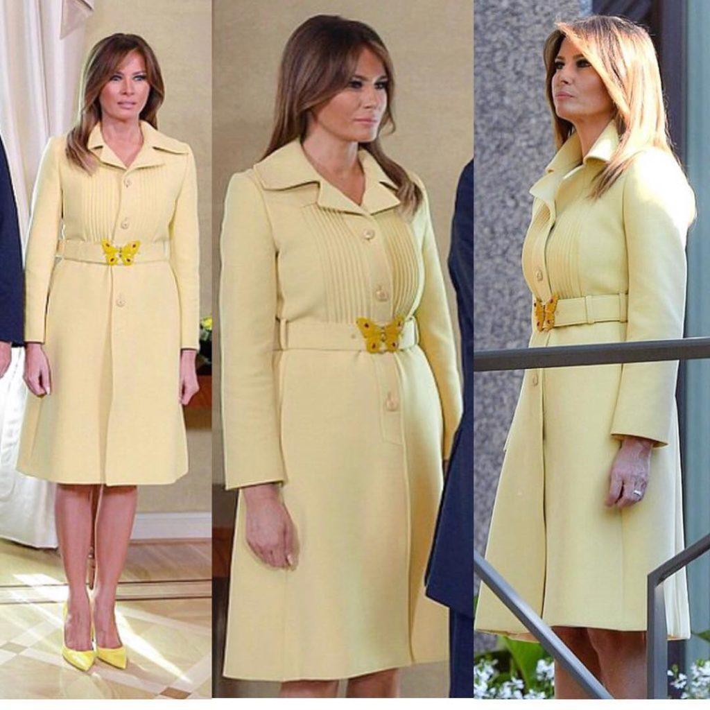 Меланья Трамп выбрала девичье платье-пальто длявстречи сВладимиром Путиным